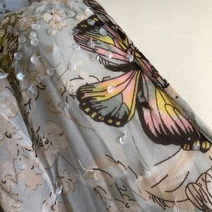 By Together Tops - Sheer summer butterfly print tunic